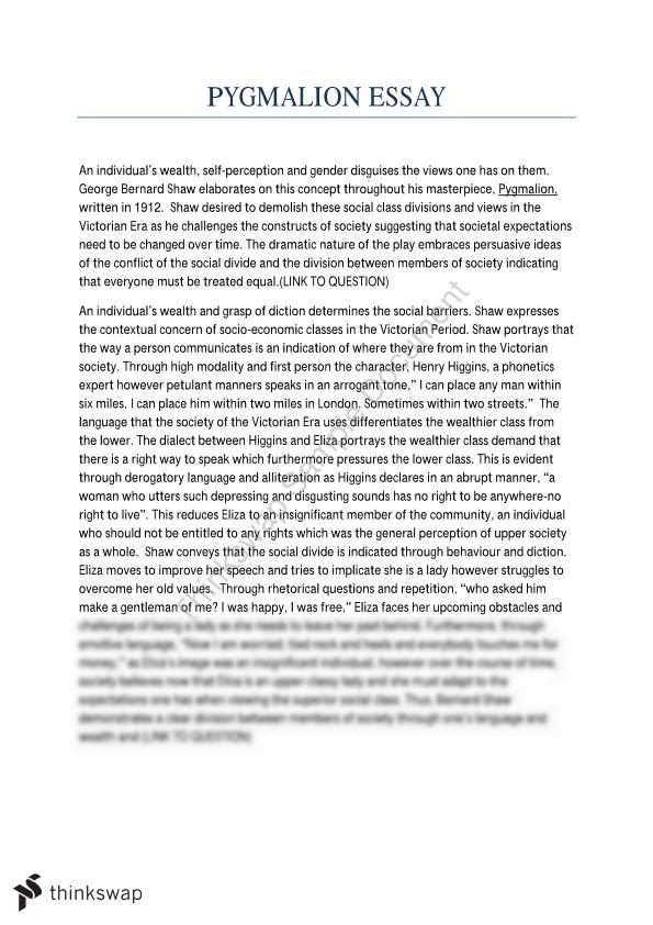 Hsc English Essay Pygmalion  Year  Hsc  English Standard  Hsc English Essay Pygmalion