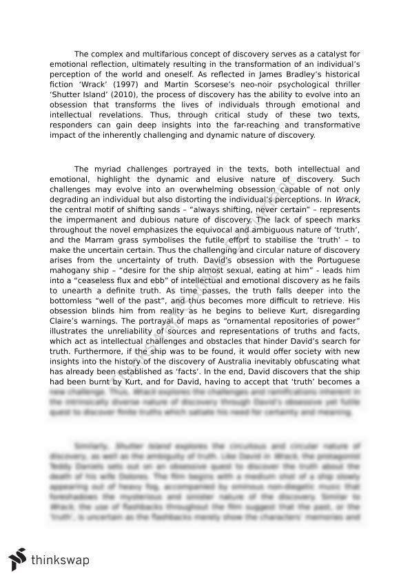 shutter island essay Shutter island vs a beautiful mind for a schizophrenia paper ive seen shutter island i like both films but i think from an essay point of view a beautiful mind would be better although, both show that the positive symptoms of schizophrenia are easy to fake and show the 'being insane in sane places' experiment and how hard.