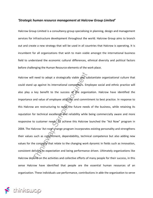 human resource essay sample essay on human resource management  strategic human resource management at halcrow group limited strategic human resource management at halcrow group limited