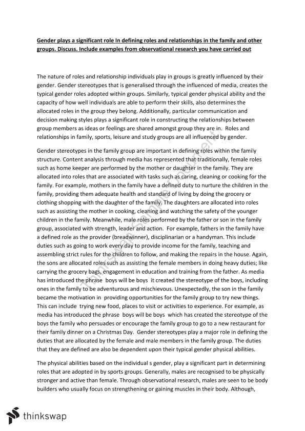 changing gender roles essay Research paper on gender roles her representation brings about stakes which is that of going against the superstructure to make a change in it research paper samples and example research papers on gender roles topics are plagiarized and cannot be fully used in your high.