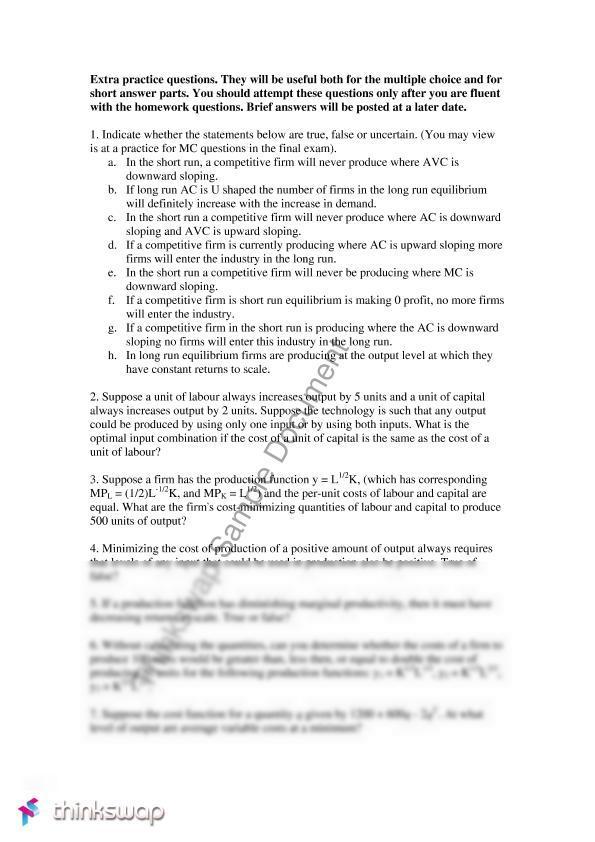 Intermediate Micro Economics 2001 Practice Exam | ECOS2001