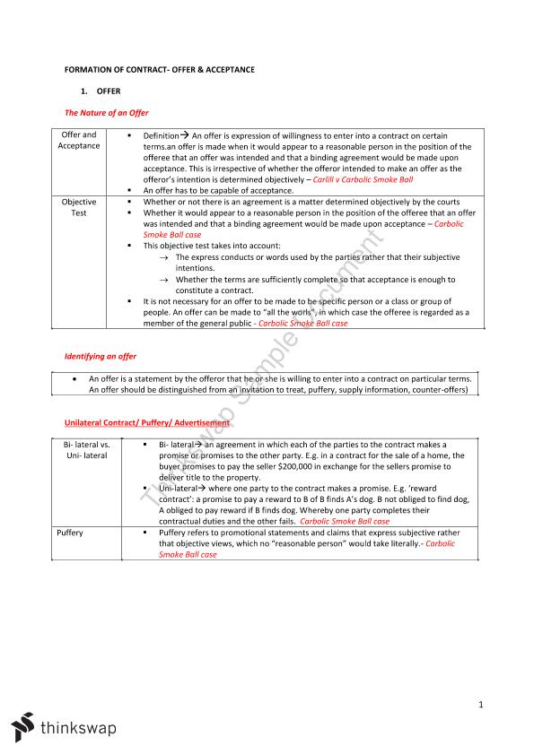Contract Law Exam Notes Case Summaries 200011 Contracts