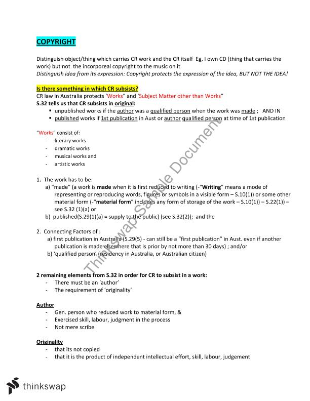 Intellectual Property exam notes (does not incl Trademarks ...