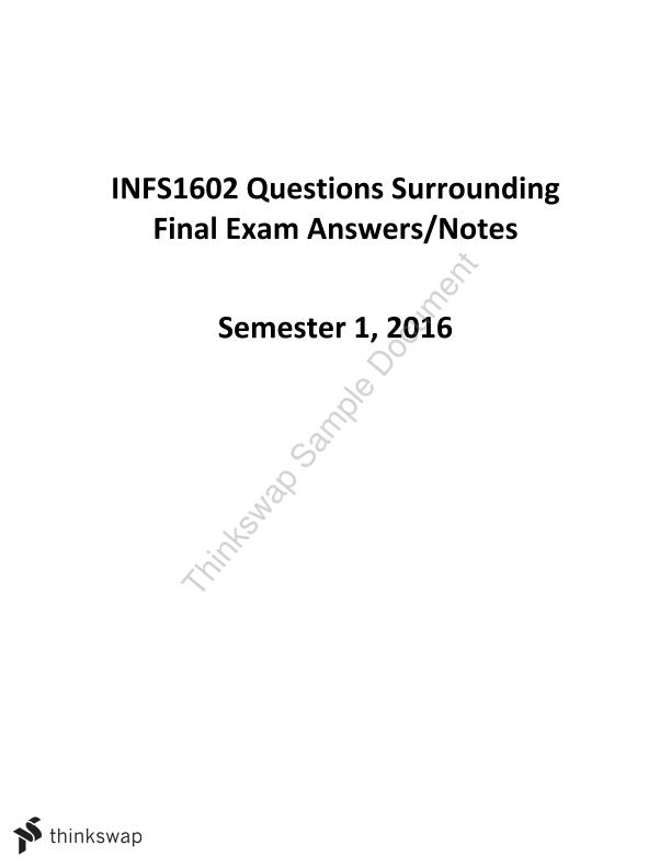 management information system example final exam questions 2017-02-27  e-business is an example of a reporting system x  g guarantee information uniqueness  sample final examdoc.