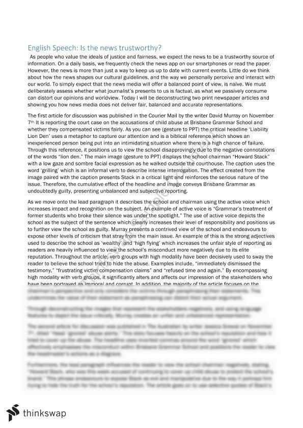 English Speech Script - News Media | Year 11 QCE - English