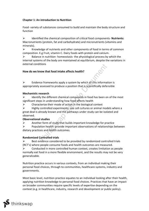 Health & Fitness Through Diet & Exercise Module 1-4 Notes | NUTR1023 ...