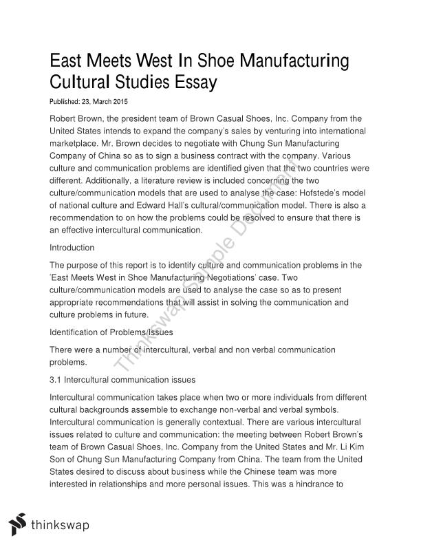 east meets west in shoe manufacturing case study mgb  topics this document covers cultural studies