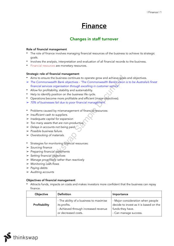 Finance Business Studies Complete Notes HSC | Year 12 HSC - Business