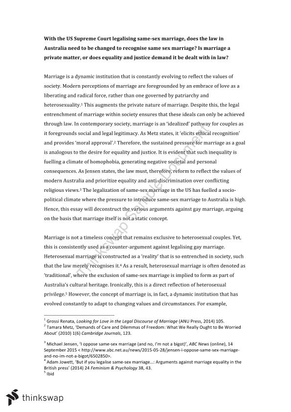 arguments for and against gay marriage essay