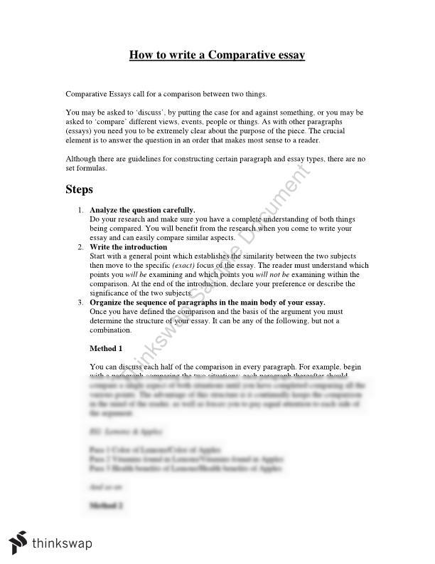 how to write a comparative essay  year  vce  english  thinkswap document details