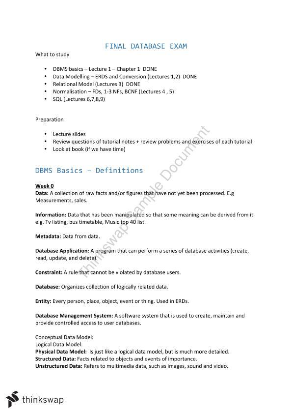 Database Fundamentals Final Exam Notes | 31271 - Database
