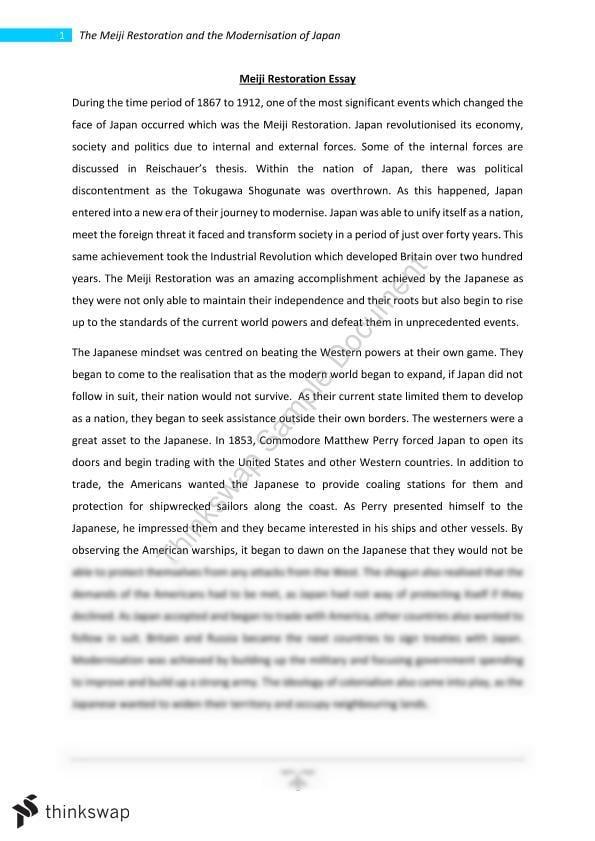 meiji restoration essay year hsc modern history thinkswap meiji restoration essay