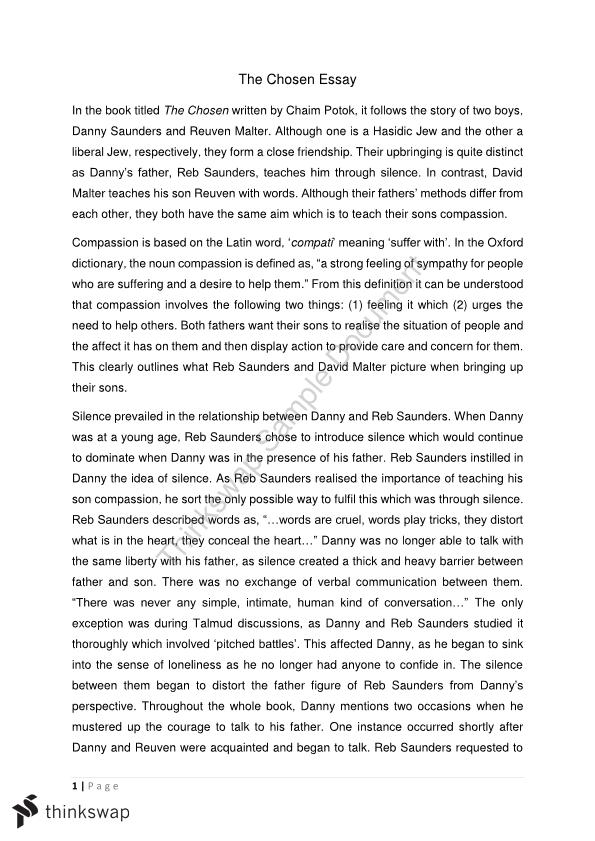 essay based on the book the chosen by chaim potok year hsc  essay based on the book the chosen by chaim potok