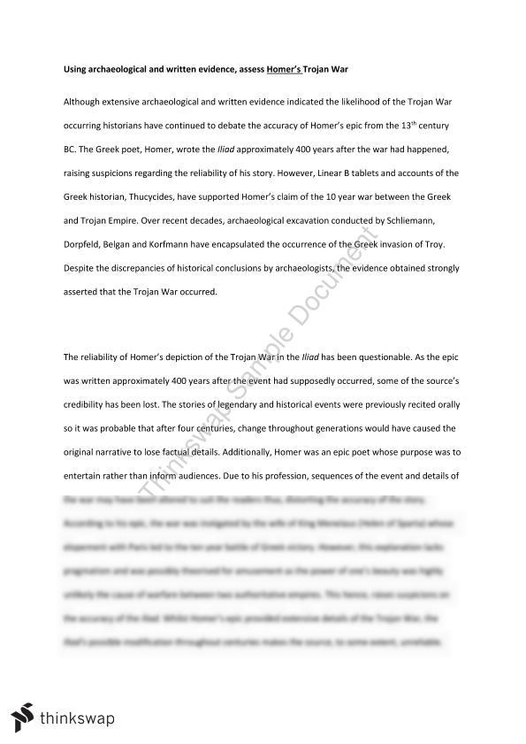 Preliminary Ancient History Trojan War Essay  Year  Hsc  Ancient  Preliminary Ancient History Trojan War Essay
