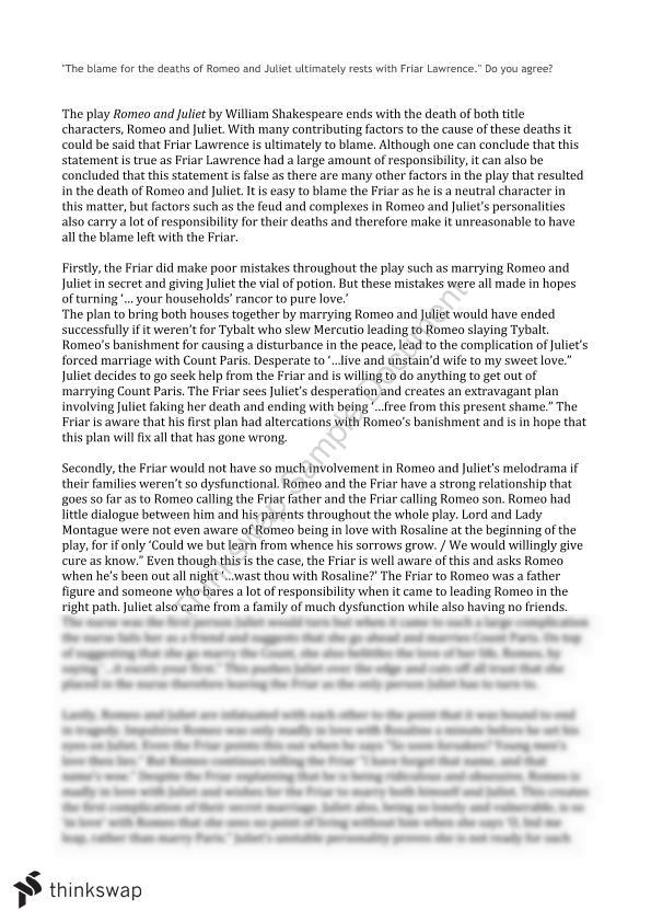 Romeo And Juliet Essay  Year  Sace  English  Thinkswap Romeo And Juliet Essay