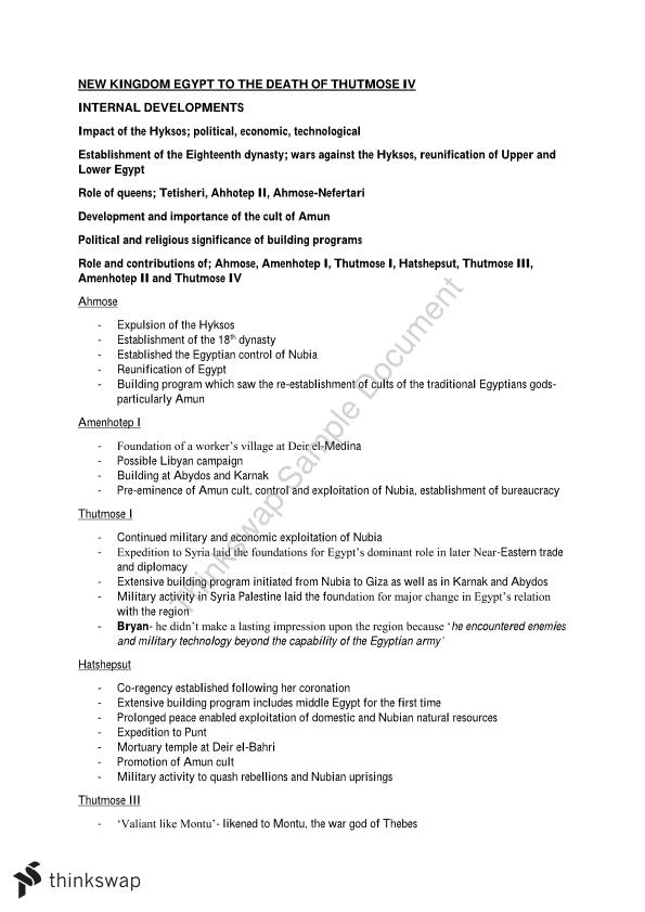 new kingdom notes and essay plans year hsc ancient  new kingdom notes and essay plans