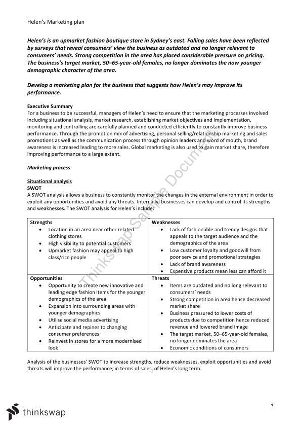 Business Studies Example Marketing Plan | Year 12 HSC