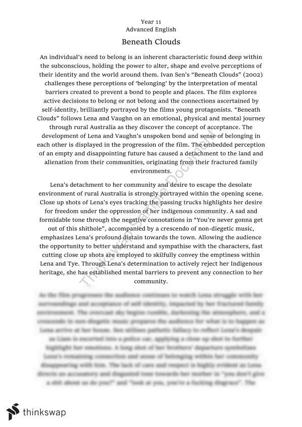Beneath Clouds Essay - AOS Belonging | Year 11 HSC - English ...