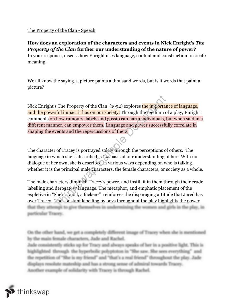essay  speaking task on property of the clan  year  hsc
