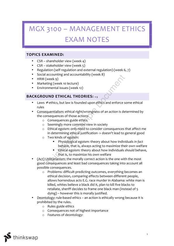 HD (85) Exam Notes MGX3100 - Full and Comprehensive Yet Concise