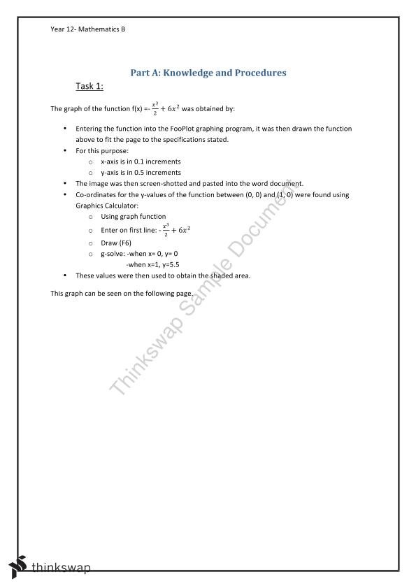 Year 12 Mathematics B- Functions Report