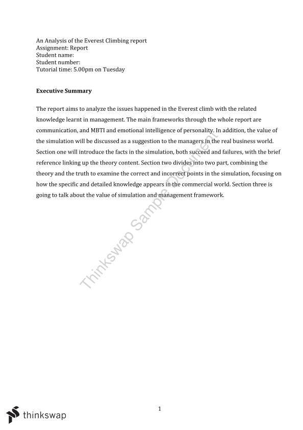 mgmt1001 essay 1 Free essay:  everest simulation report mgmt 1001 5/16/14    mgmt 1001   table of  1 performance: improvement in scores and timing.
