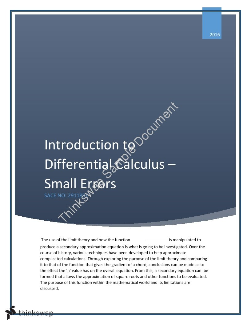 Introduction into Differential Calculus and Small Errors