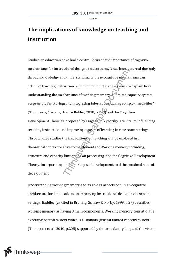 essay on cognition and learning edst educational  essay on cognition and learning
