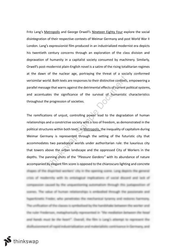 Christmas Essay In English Metropolis  Essay Essay Thesis Statement also Essay Science And Religion Metropolis  Essay  Year  Hsc  English Advanced  Thinkswap High School Admission Essay Sample
