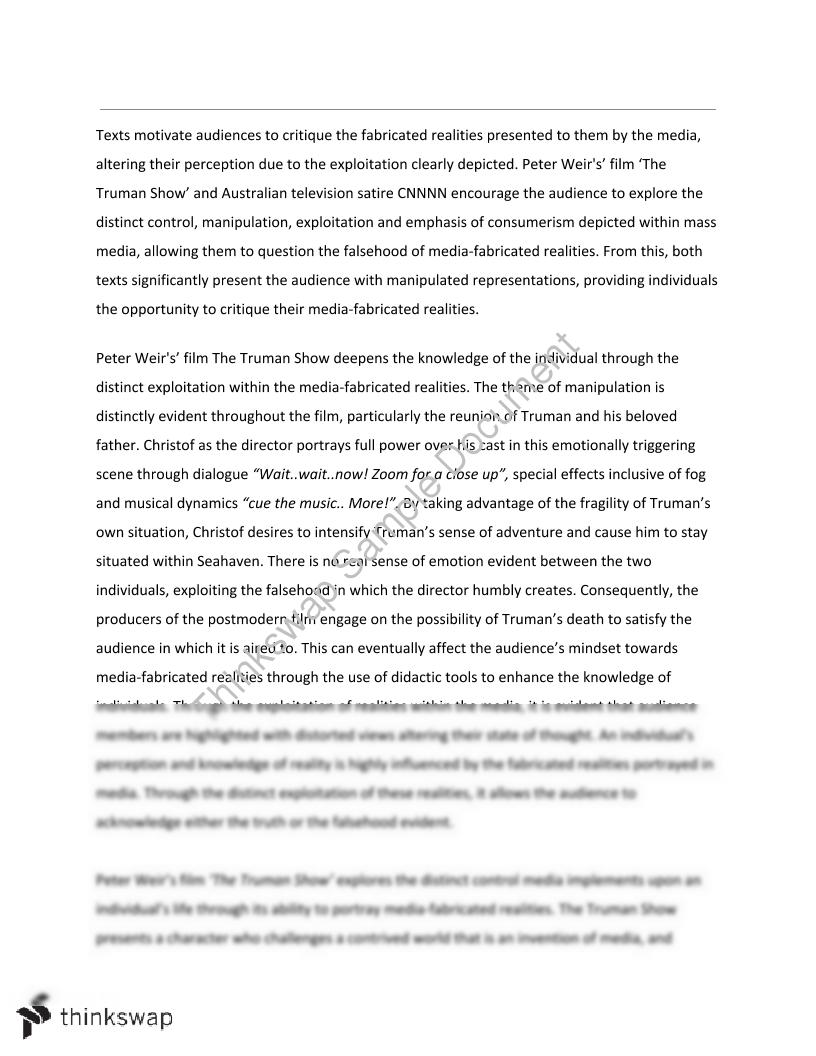 the truman show essay essay Sample of moral issues in the truman show essay (you can also order custom  written moral issues in the truman show essay.
