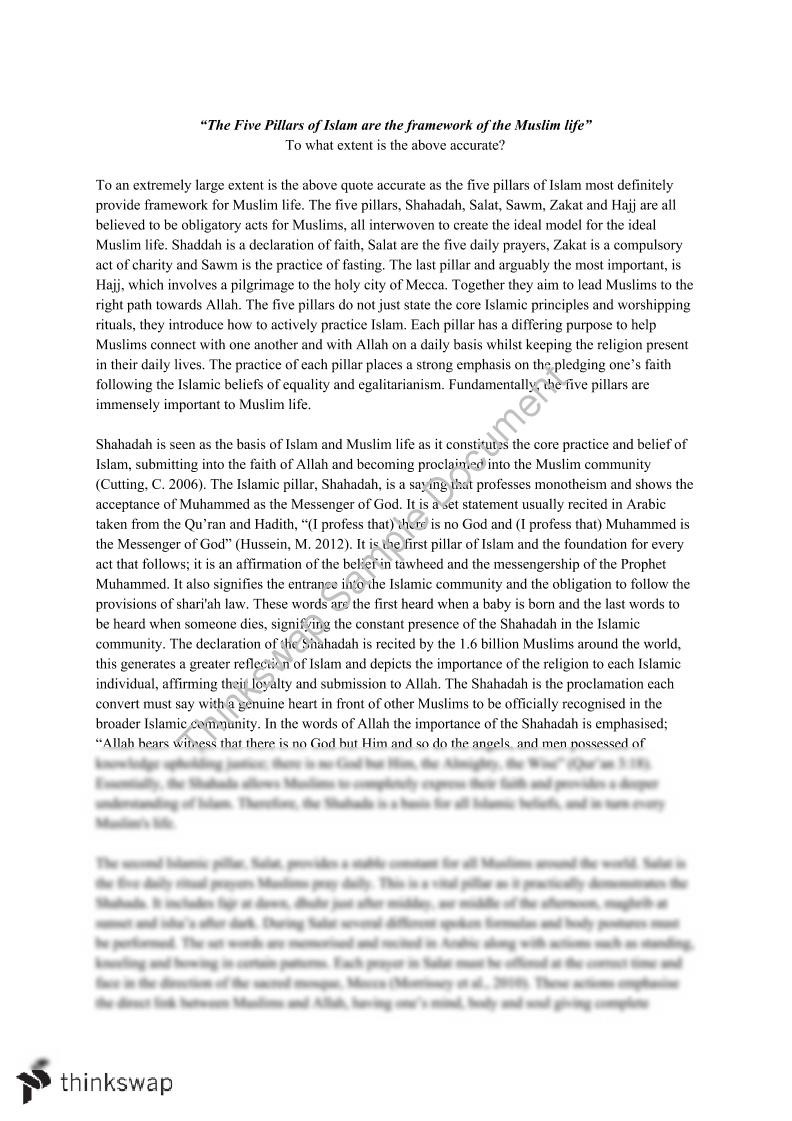 Essay on muslim religion