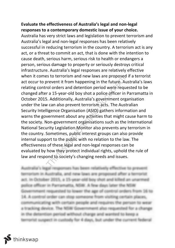 terrorism and the law essay year hsc legal studies thinkswap terrorism and the law essay