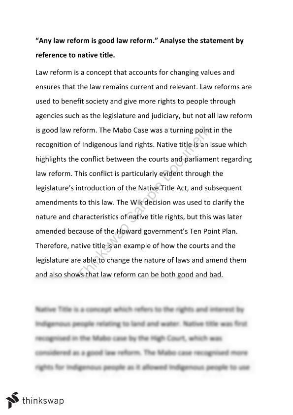 legal studies essay on law reform and native title year hsc legal studies essay on law reform and native title