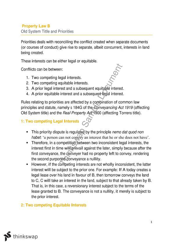 Notes   LW242 - Property Law B   Thinkswap