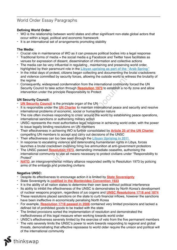 World Order Essay Paragraphs  Year  Hsc  Legal Studies  Thinkswap Document Details Essay  Project