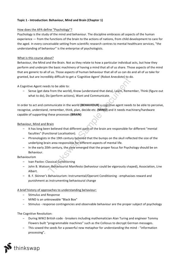 PYB102 Notes Weeks 1 - 13   PYB102 - Introduction to