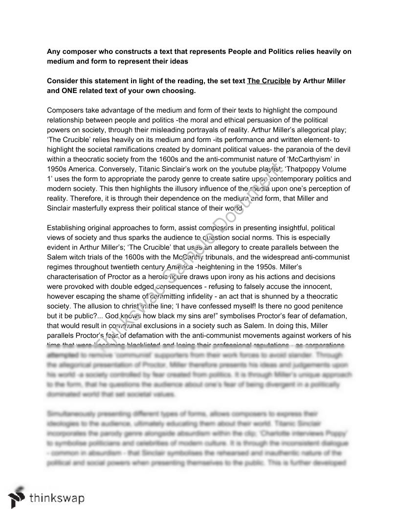 crucible study essay The crucible is also a study of honour and integrity the importance of the crucible today essay - in miller's, the crucible, he describes a new england town in the midst of salem witch-hunt hysteria during the late 1600's.
