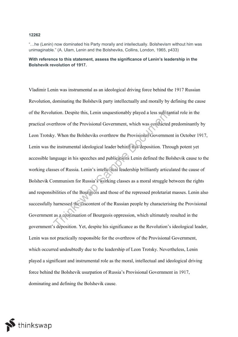 lenin essay year hsc modern history thinkswap lenin essay