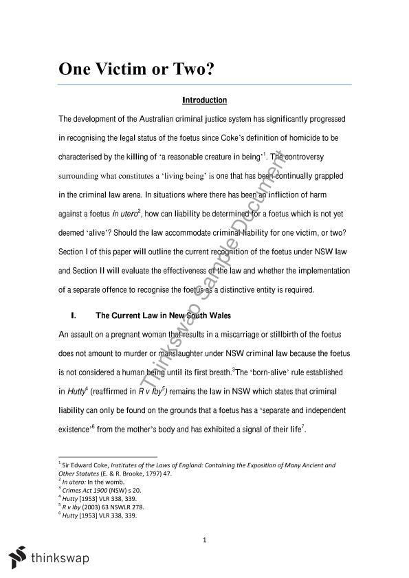 Criminal law essays