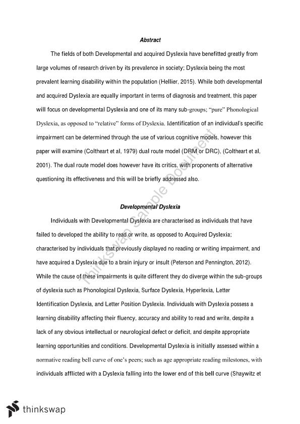 Essays On Dyslexia  Essay Thesis Statements also Example Of A Essay Paper  Family Business Essay