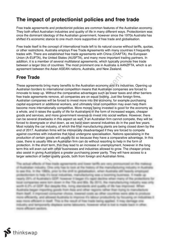 Protein Synthesis Essay The Impact Of Protectionist Policies And Free Trade On Australia Good Health Essay also Argumentative Essay Topics On Health The Impact Of Protectionist Policies And Free Trade On Australia  Thesis Statement Persuasive Essay