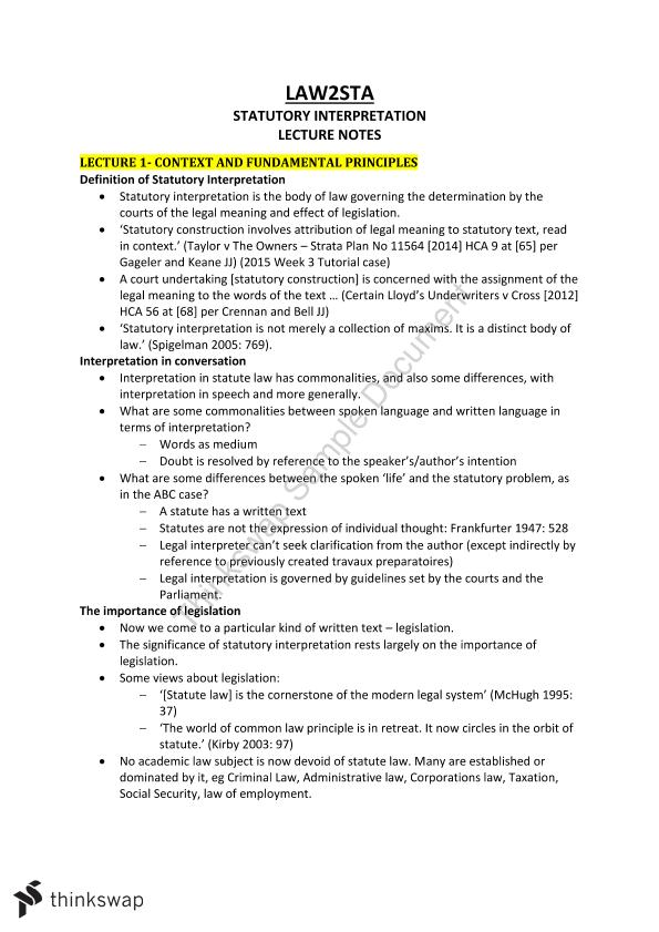 lawsta statutory interpretation thinkswap complete set of notes for statutory interpretation law2sta