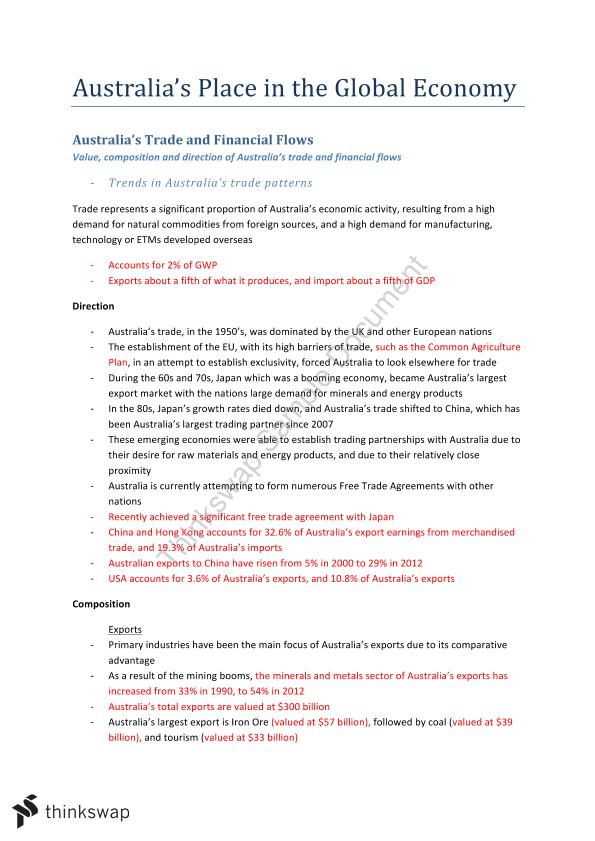 Comprehensive Syllabus Notes Topic 2: Australia's Place in the Global Economy
