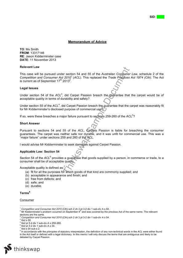 Memorandum of Advice | LAWS11-110 - Australian Legal System ...