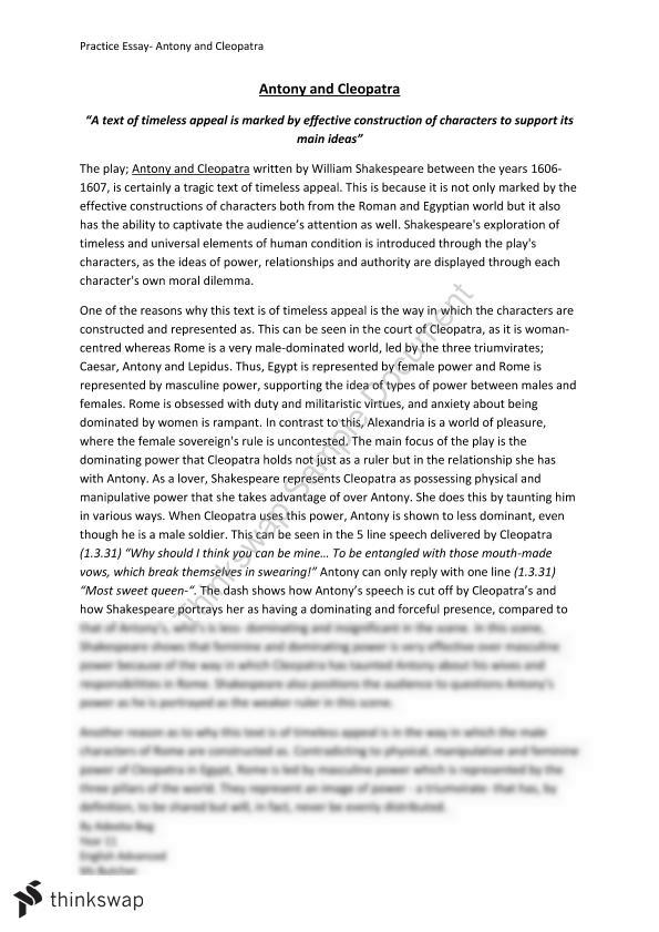 antony and cleopatra essay  year  hsc   english advanced  antony and cleopatra essay