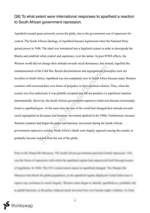 modern history south africa essay  year  hsc   modern history  modern history south africa essay