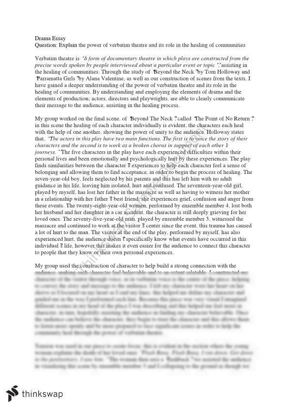 drama verbatim theatre drama essay