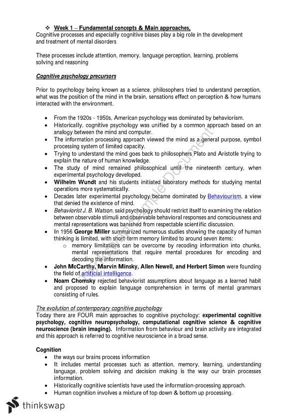 Psychology Major Cognition Psychology Complete Unit Notes