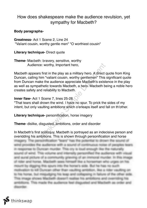 macbeth essay example year hsc english advanced thinkswap macbeth essay example