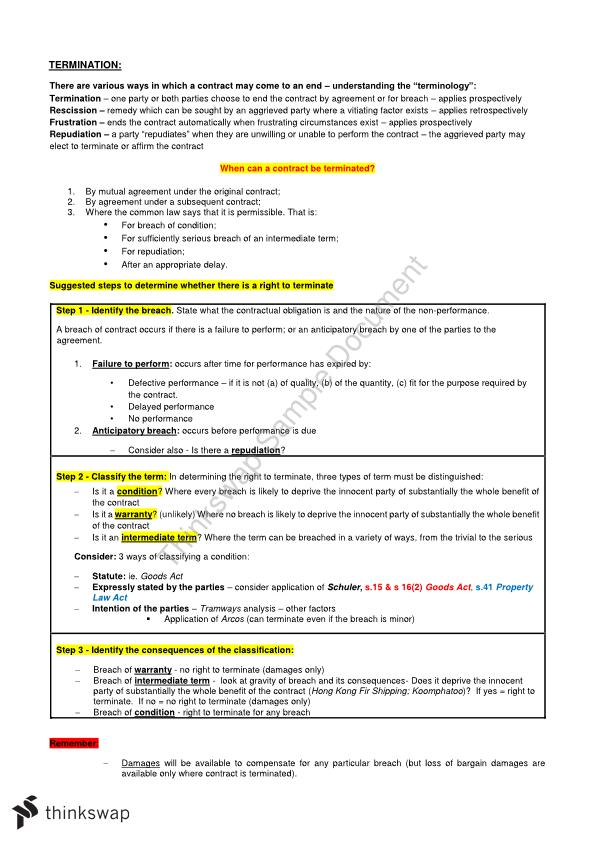 Full LAW2102 Contract Law B Notes, Includes Cases, Steps to Solve Problems
